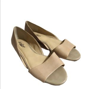 Lucky Brand Leather Open Toe Flats- 10